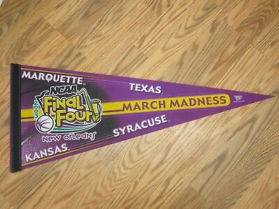 2003 FINAL FOUR MARCH MADNESS MARQUETTE TEXAS KANSAS SYRACUSE PENNANT