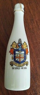Crested china Bexhill-on-Sea pepper shaker champagne bottle Sol et Salubritas