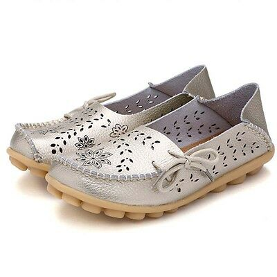 Womens Casual Driving Leather Shoes Peas Loafers Flats Comfort Moccasin Walking
