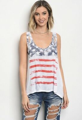 American Flag Print Tank Top Shirt  4th of July  Memorial Day