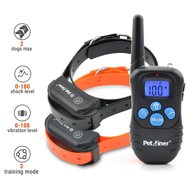 Petrainer Waterproof Dog Training Collar Electric Remote Shock Collar For 2 Dogs