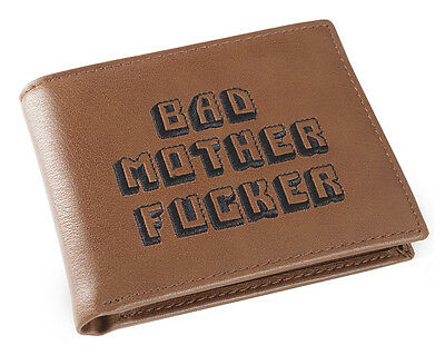 Brown Embroidered BMF Bad Mother Fuer Leather Wallet As Seen in Pulp Fiction