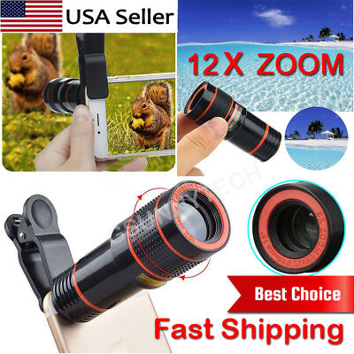 HD 12x Optical Zoom Clip on Camera Lens Phone Telescope For Universal Cell Phone