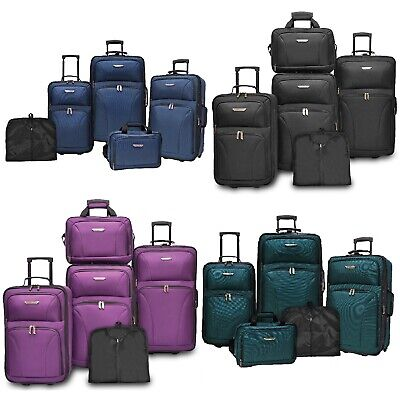 Travelers Choice Ultimate 5pc Expandable Wheeled Luggage Suitcase Tote Bag Sets