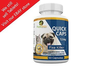 50 CAPSULES Quick Caps Flea Killer Control Pills 12 mg for Dogs - Cats 2-25 Lbs