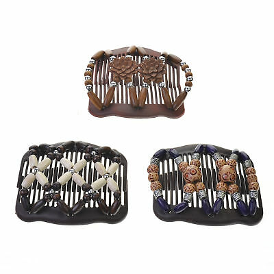 Kloud City Women Magic Combs Wood Beaded Stretch Double Side Combs Clips