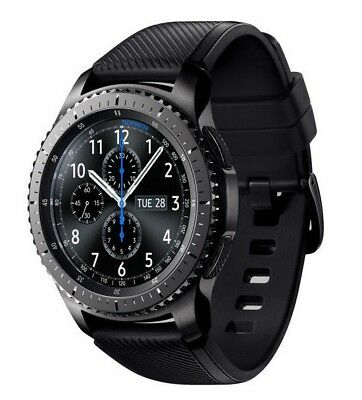 Samsung Galaxy Gear S3 frontier 46mm Stainless Steel Case Black Sport Band-