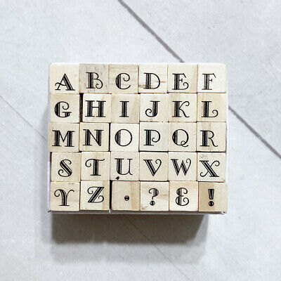 Alphabet Letters Rubber Stamp Set 30 Mini 14 Wood Mounted for Crafts Planners