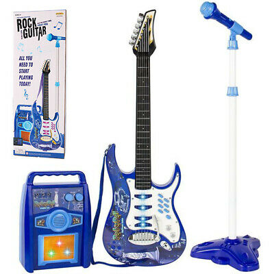 Kids Blue Electric Guitar Set MP3 Player Learning Toys Microphone Amp