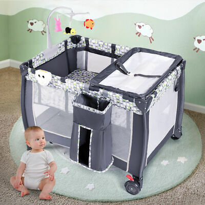 Foldable Travel Baby Crib Playpen Infant Bassinet Bed Mosquito Net Music w Bag