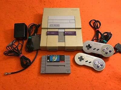 SNES SUPER NINTENDO SYSTEM CONSOLE WITH 2 CONTROLLERS - HOOKUPS - MARIO WORLD