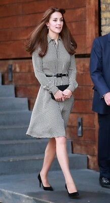 Ralph Lauren Black Label Shirt Dress 6 Houndstooth Kate Middleton Austin Silk
