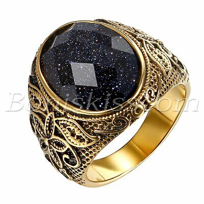Mens Vintage Gold Stainless Steel Patterned Purple Sand Stone Band Ring 7- 12