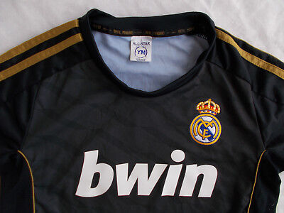 REAL MADRID RONALDO 7 BWIN BLACK GOLD JERSEY YOUTH MEDIUM VGC