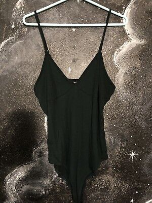 Forever 21 Bodysuit Large Emerald Green Spaghetti Strap Ribbed New