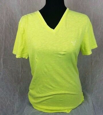 American Eagle Outfitters Womens T-Shirt Sz S Sm Neon Green Yellow Short Sleeve