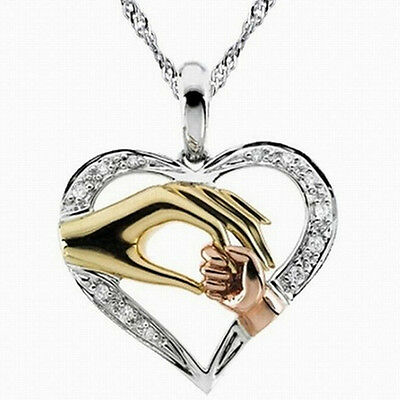 Mothers Day Mom Hold Kids Children Hand Love Heart Pendant  Chain Necklace BE