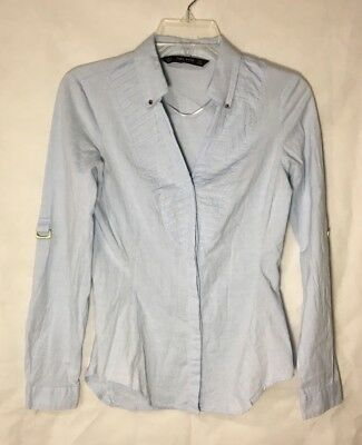ZARA BASIC COLLECTION WOMENS SMALL BLUE LONG SLEEVE BUTTON DWON PLEATED BLOUSE