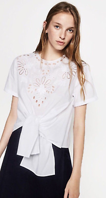 Zara NWT Embroidered Poplin Shirt Top with Knot Size S