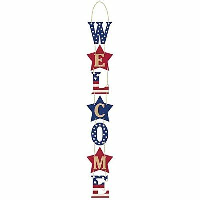 Amscan Americana Fourth of July Party Welcome Hanging Vertical Sign