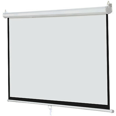 100 Inch 169 Manual Pull Down Projector Projection Screen Home Theater Movie