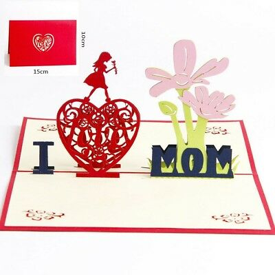 3D Pop Up Card Mothers day I Love Mom Gift Girl Flower Heart Greeting Cards
