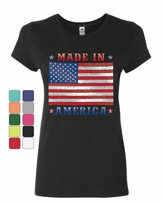 Made in America Womens T-Shirt 4th of July Stars and Stripes Patriot Shirt