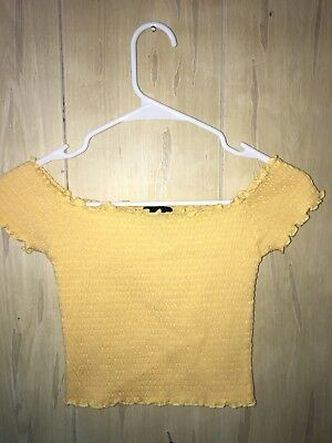 Wet Seal Off Shoulder Ribbied Yellow Crop Too Size S