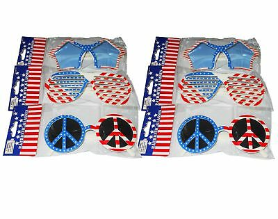 6 Piece USA 4th of July American Patriotic Novelty Glasses Sunglasses Plastic