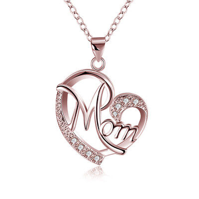 Heart Shape Crystal MOM Pendant Necklace Women Jewelry Mothers Day Gift For Mom