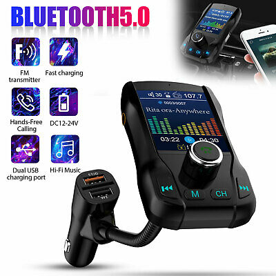 Car Bluetooth 5-0 FM Transmitter AUX MP3 Player Radio Adapter Dual USB Charger