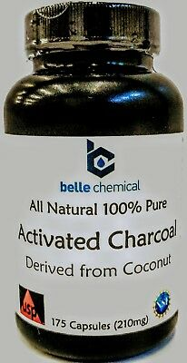 210mg 175ct Coconut Activated Charcoal Pills - Food Grade - Easy to Swallow Si