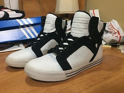 SUPRA SkyTop Muska 001 High Top Skate Shoe SIZE 10 White  Black