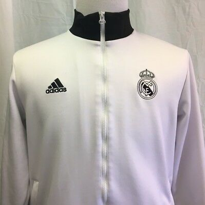 Adidas REAL MADRID Men's Large Track Jacket RARE White Soccer Spain Football