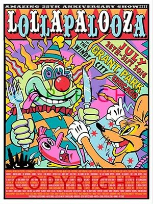 Lollapalooza 2016 Concert Poster Radiohead Red Hot Chilli Peppers etc-