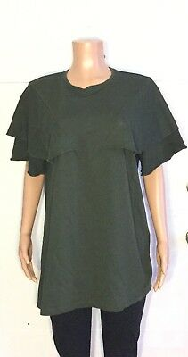 Zara Trafaluc Womens Large L Green Ruffle Top Short Sleeve Shirt Oversized Solid