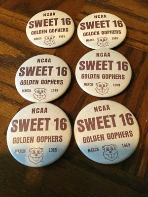 6 Vintage NCAA Sweet 16 Golden Gophers March 1989 Buttons