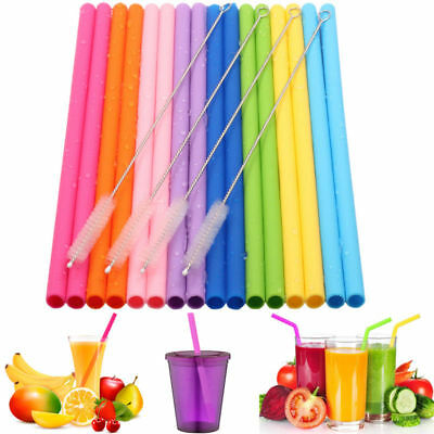 612pcs Reusable Silicone Food Grade Drinking Straws with Cleaning Brushes Set