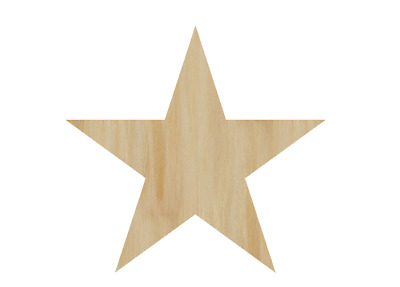 Laser Cut Out Wood Star Wood Shape Craft Supply - Unfinished Wooden star