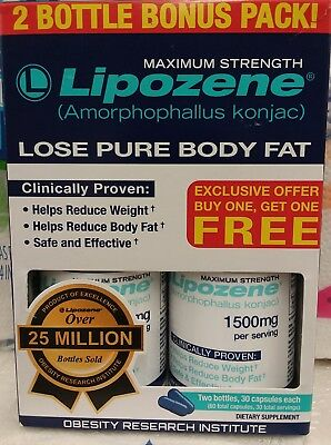 2 Pack Lipozene Maximum Strength Weight Loss aid 60 capsules Free Shipping