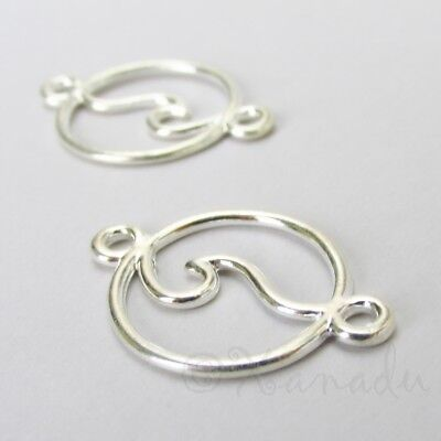 Ocean Wave Charms 28mm Silver Plated Connector Pendants C0799 - 5 10 20PCs