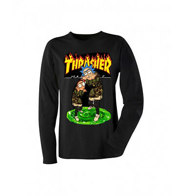 Rick and Morty THRASHER Black  Long-Sleeve Shirt Made in USA