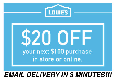 THREE 3X 20 OFF 100 LOWES INSTANT DELIVERY-3COUPONS INSTOREONLINE 113018