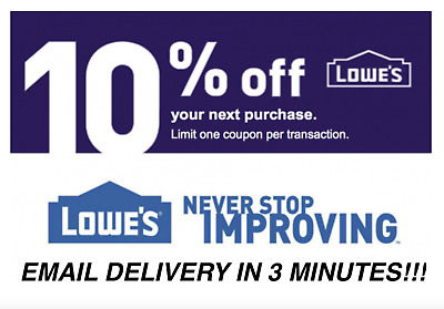 THREE 3X 10 OFF LOWES INSTANT DELIVERY-3COUPONS INSTOREONLINE EXP - 123118
