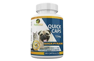 100 CAPSULES Quick Caps Flea Killer For CATS and DOGS 2-25 Lbs- 12 Mg