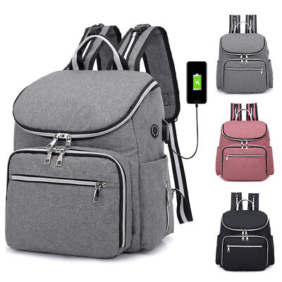 Large Mummy Diaper Bag USBEarphone Port Baby Nappy Travel Backpack Bottle Hold