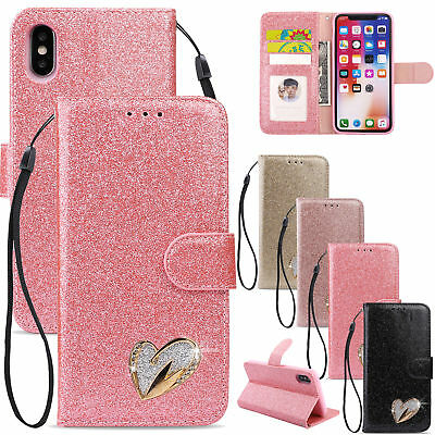 Bling Glitter PU Leather Case Magnetic Flip Wallet Cover For iPhone XS MAX XR 8