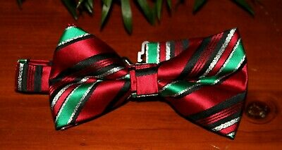 New Mens Red Green Silver Pre-Tied Bow Tie Bowtie  Christmas Mens Bow Tie