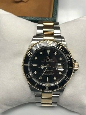 2002 ROLEX SUBMARINER 16613 SS AND 18K YELLOW GOLD TWO-TONE JUST SERVICED