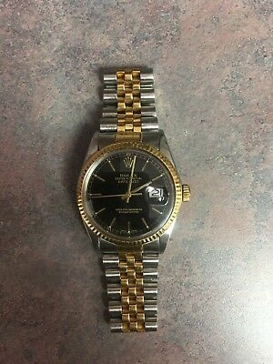 Genuine Rolex Gents Two-Tone Datejust - 16013 - Black Dial